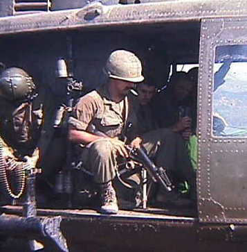 Capt Collins on Bn CO's chopper headed back to attack NVA from our pos on Razorback Ridge