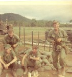 2nd platoon squad leaders Platoon seargent Hankins L to right Massey[top] Lafe Baehe bottom, Hankins and Jimmy Hampton, Badge not in pic