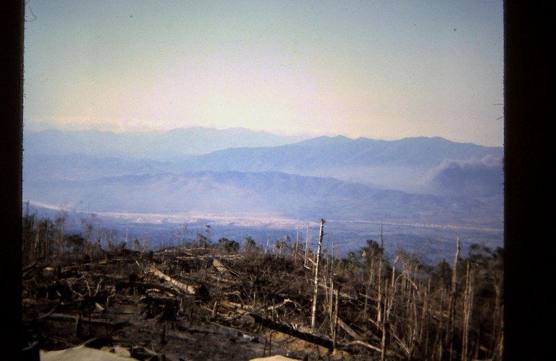 b-52 strike near Dak-to base camp taken from hill 1338 (nov 67)