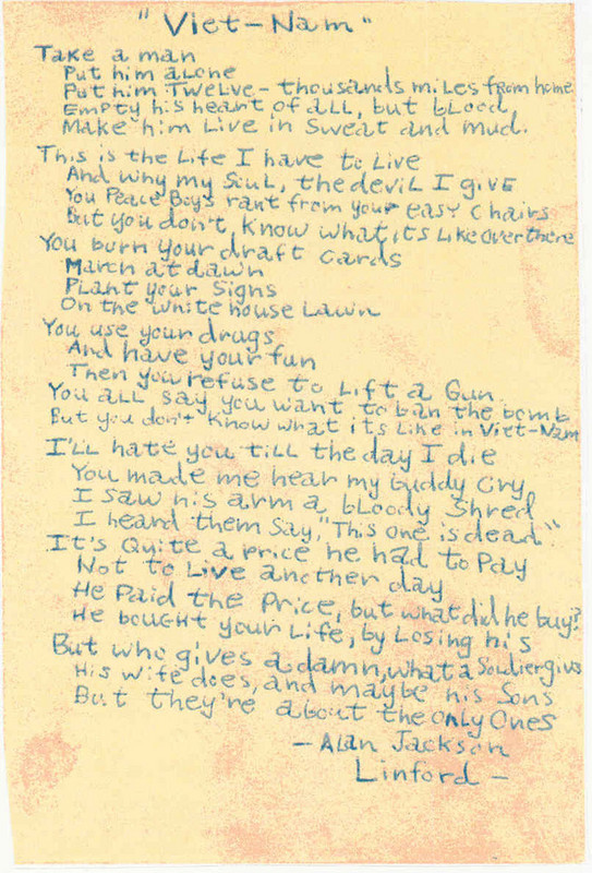 Vietnam Poem By Alan Linford, Nov. 1967 to Nov. 1968